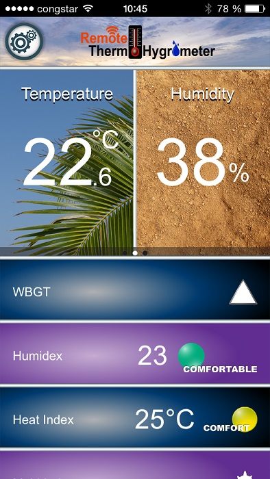 'Domino' Bluetooth Thermo-Hygrometer  für Smartphones (iOS)