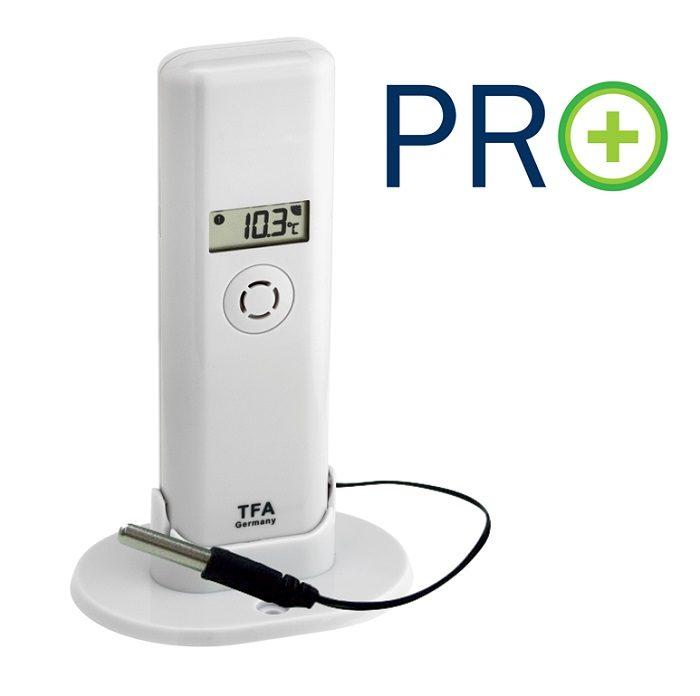 Temperatur/Feuchte-Sender PRO-Funktionen mit wasserfestem Profi-Kabelfühler passend für WeatherHub-App und WH Observer-Plattform