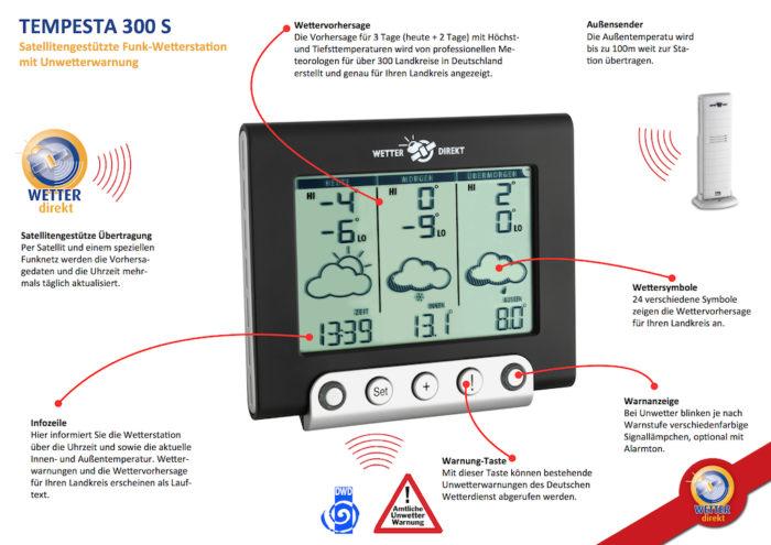 'Tempesta S 300' Satellitengestützte Funk-Wetterstation mit Unwetterwarnungen des DWD