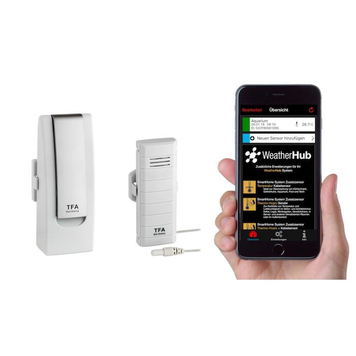 'WEATHERHUB' SmartHome System Klima- und Heimüberwachung mit dem Smartphone (iOS und Android) Starter-Set mit Temperatursender mit wasserfestem Kabelfühler