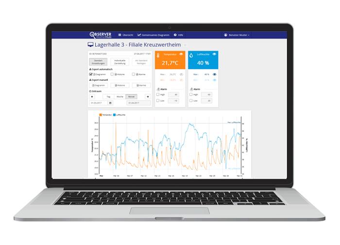 WH Observer - Web Monitoring System zur professionellen Überwachung und Dokumentation via Internet-Browser Starter-Set inkl. Temperatur/Feuchte-Sender